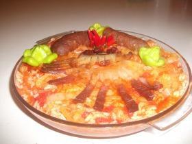 Magyaros rizses lecsó házi sonkával, szalonnával és kolbásszal