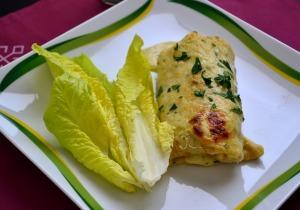Marhahúsos, gombás palacsinta sajtszósszal