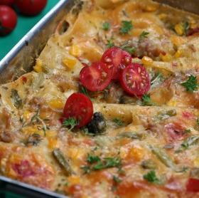 Zöldséges szénégető Lasagne