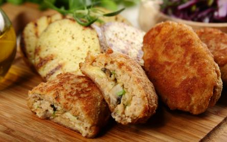 Gombával és sajttal töltött fasírtok