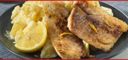 Citromos tonhalszeletek, majonézes burgonyasalátával