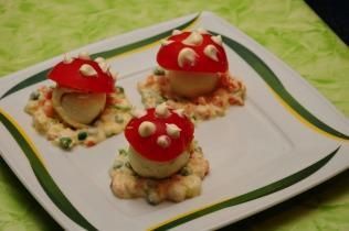 Gomba salátaágyon