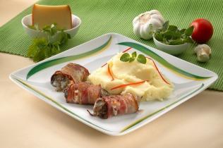 Baconös - sajtos csirkemáj