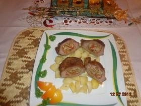 Borjúdió magyaros libamájjal töltve