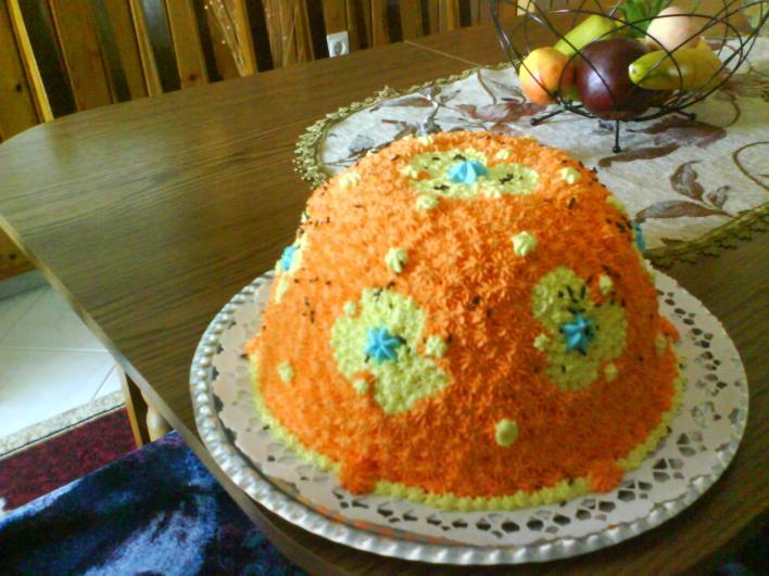 Oroszkrém torta gyümölcsökkel