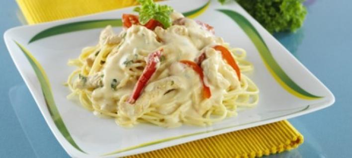 Sajtos-csirkés spagetti