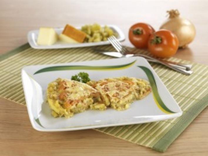 Hagymás-zöldbabos tojáslepény