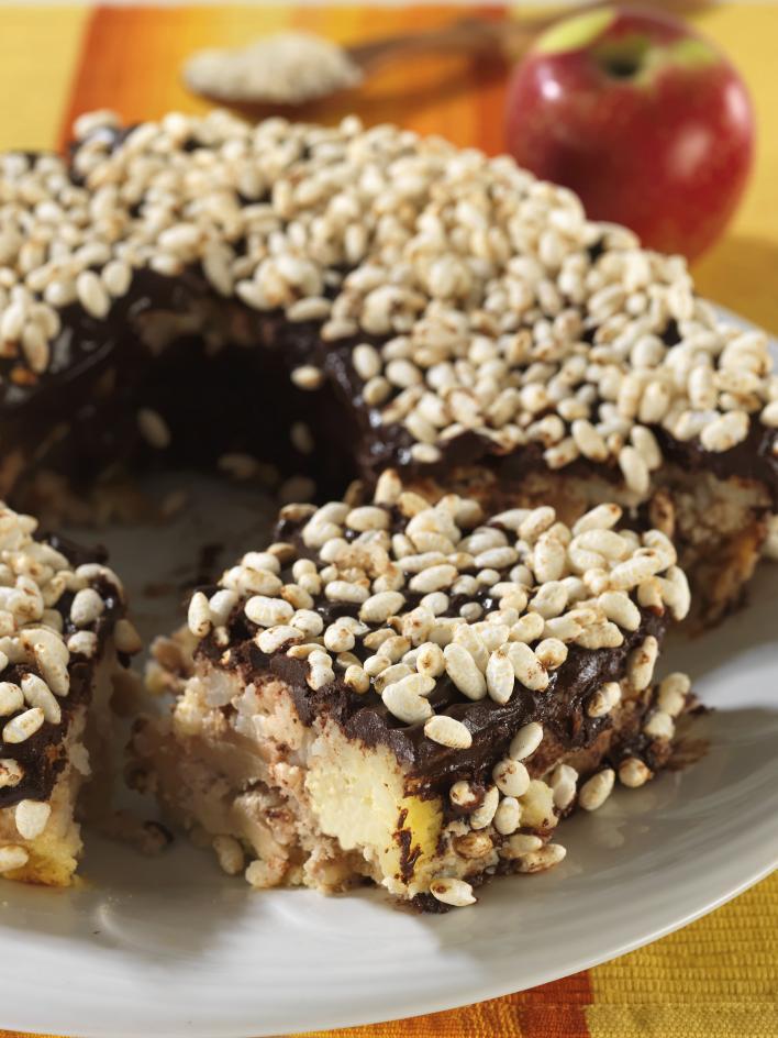 Almás, csokoládés rizskoszorú