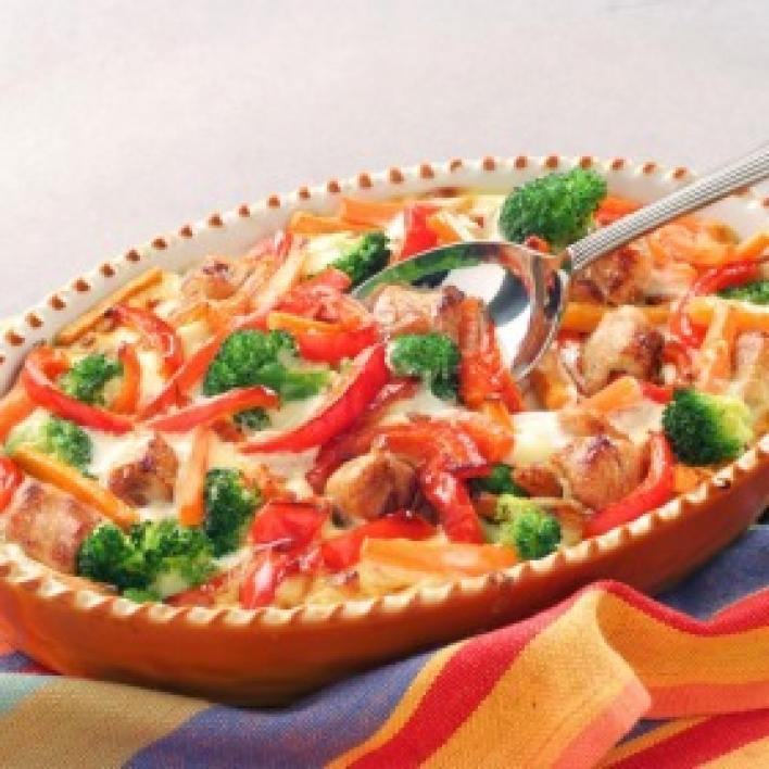 Tepsis csirke zöldségágyon