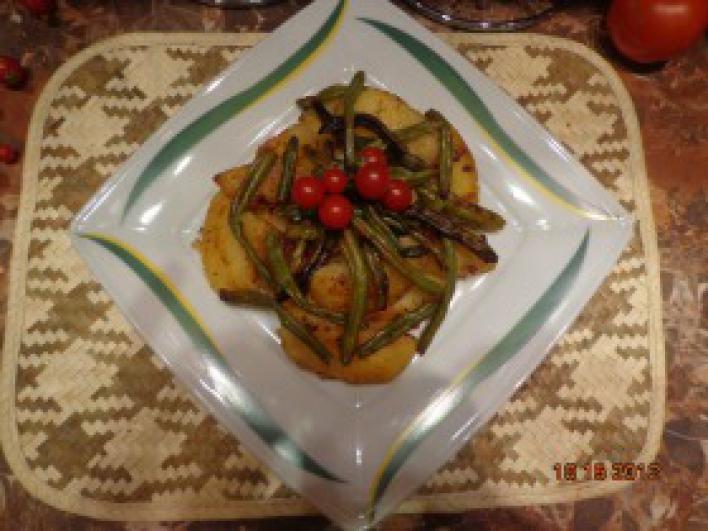 Kacsazsírban sült zöldbabos burgonya