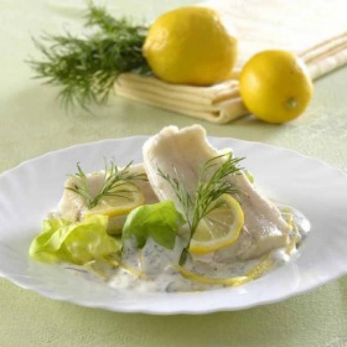 Párolt tőkehal kapros citromos majonézzel
