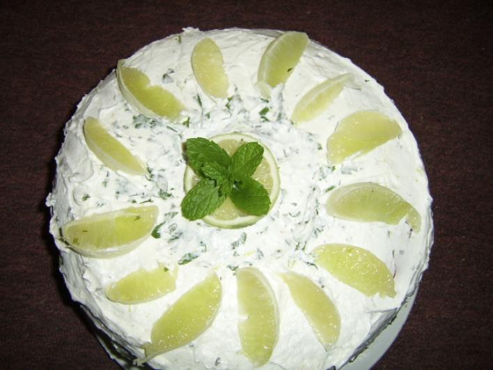 Zöldcitromos-mentás torta
