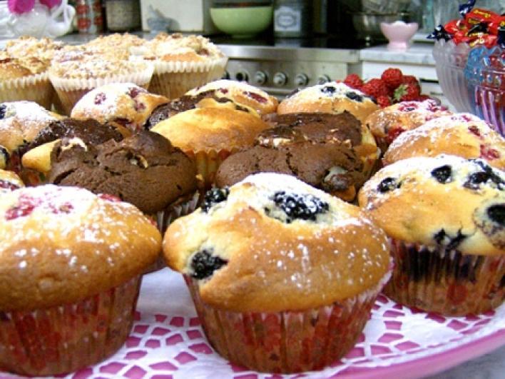 Kékáfonyás muffin