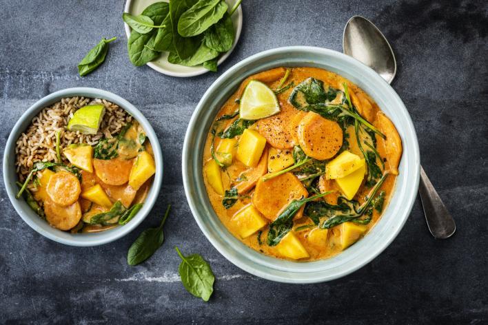 Mangós-spenótos-kókuszos curry