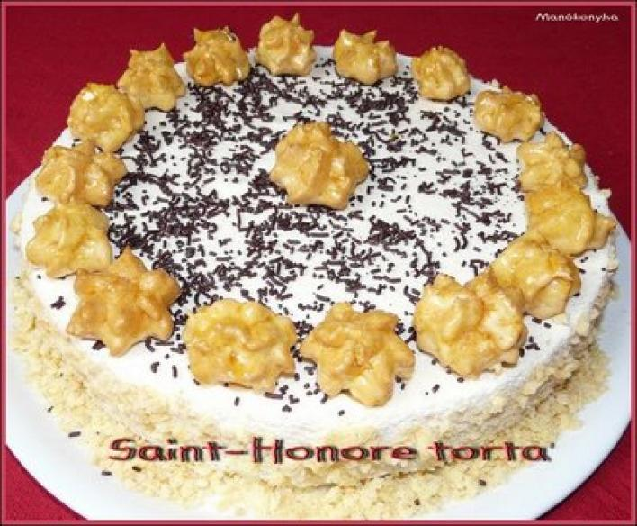 Francia vaníliakrém torta (Saint Honoré torta)