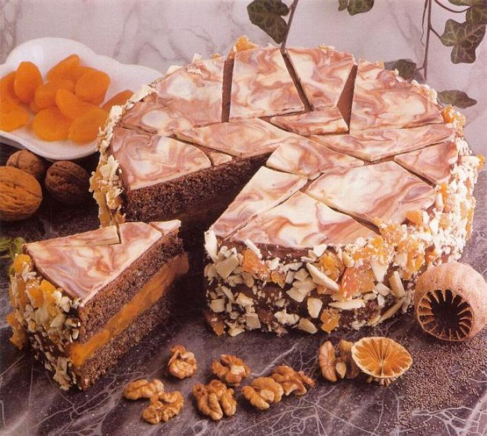 Mákos-sárgabarackos torta