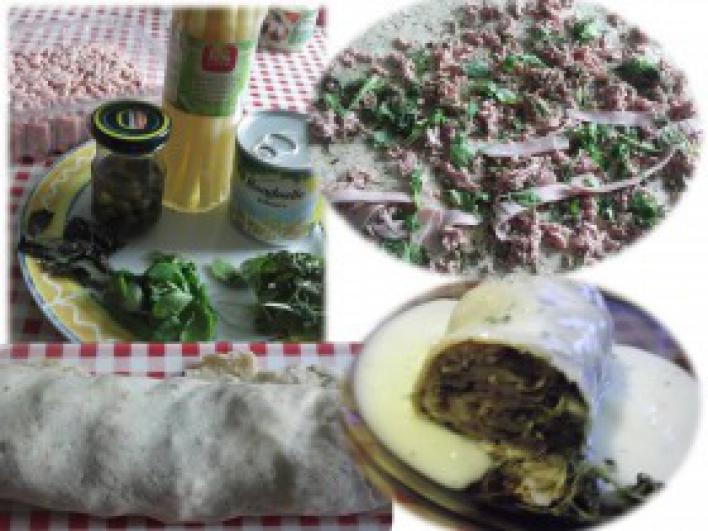 Húsos -zöldséges tésztatekercs