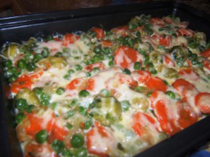 Tejszínben sült zöldségek