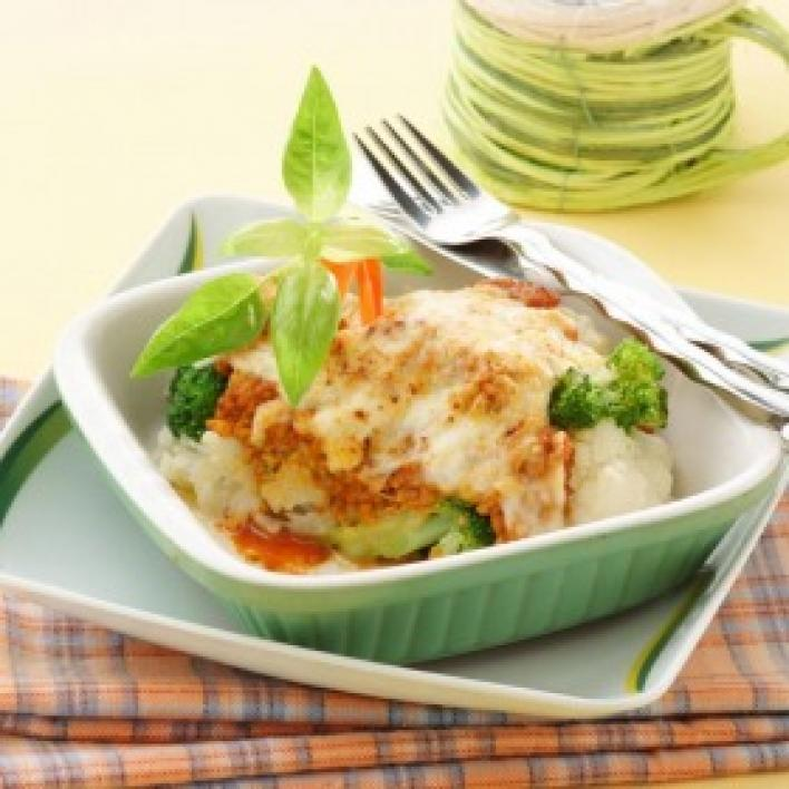 Húsos rakott karfiol-brokkoli