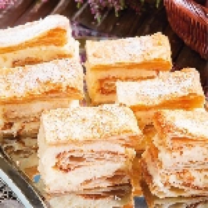 Vaníliás, leveles sütemény