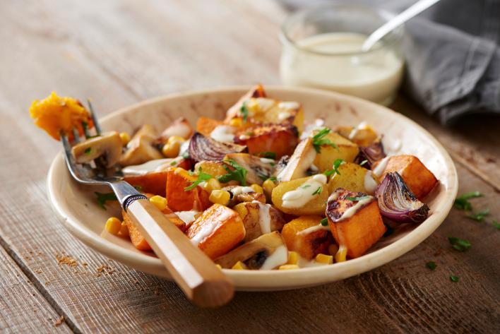 Őszi sült zöldségek hollandi mártással