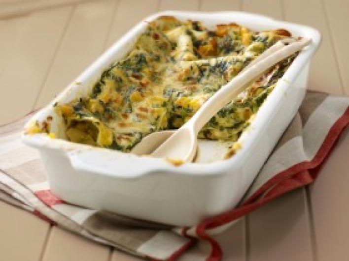 Egyszerű spenótos-sütőtökös lasagne