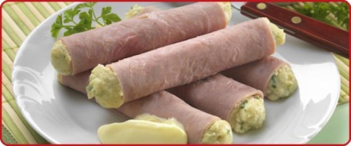 Sajtkrémes-majonézes sonka roládok