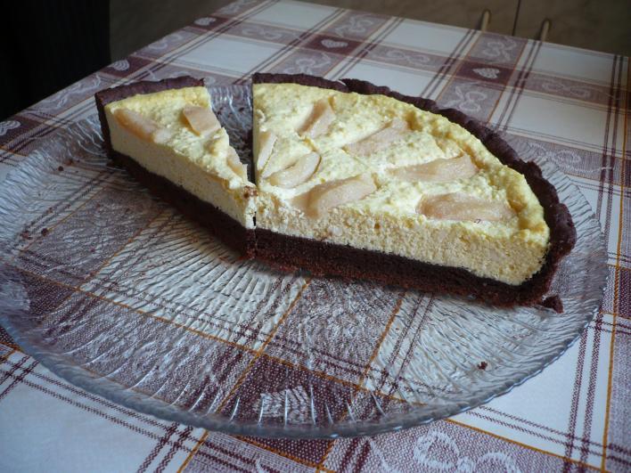 Csokoládés, körtés túrós pite
