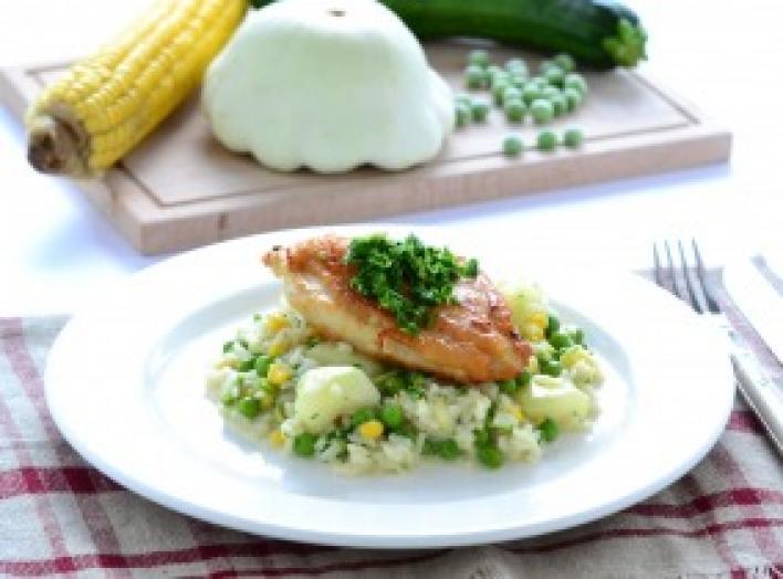 Sült csirkemell nyári zöldséges rizottóval