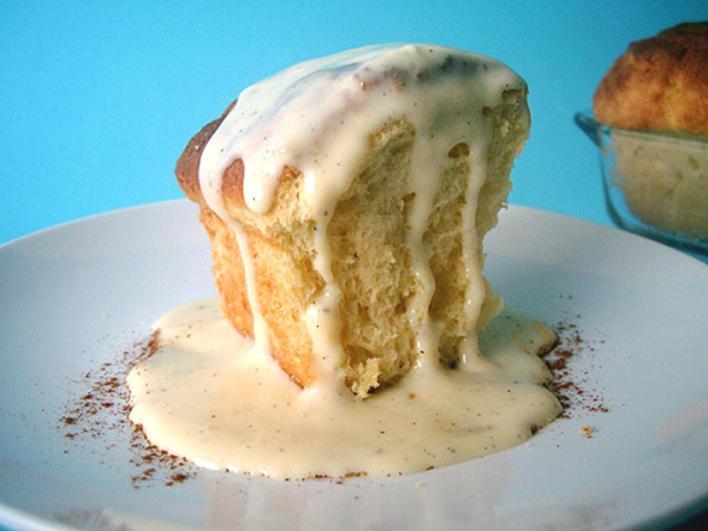 Almás-körtés muffin vaníliaöntettel