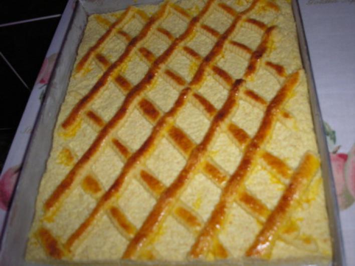 Rácsos túrós sütemény