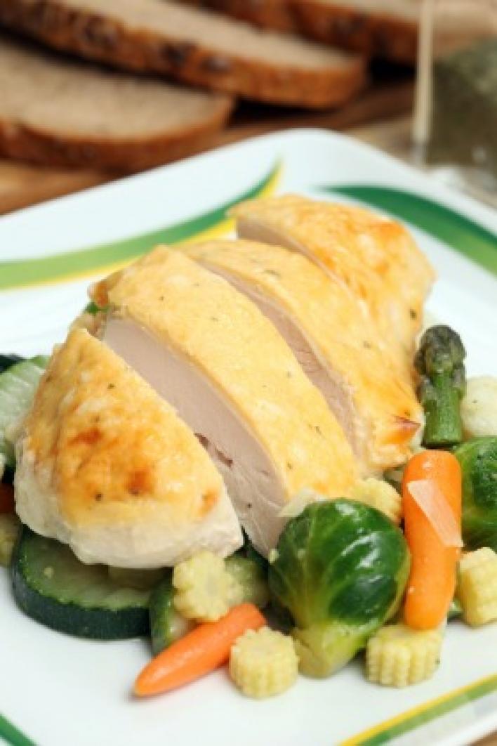 Joghurtos csirkemell párolt zöldségekkel