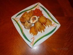 Töltött csirkemell köröm krumplival és sült sárgarépával