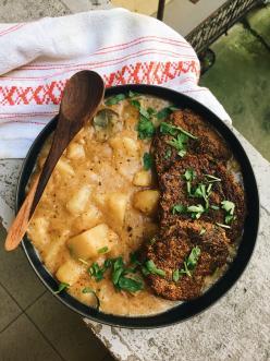 Vegán krumplifőzelék gombafasírttal - Noraspiration konyhájából