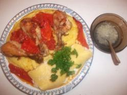 Málé (puliszka) sült csirkével