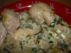 Csirkecomb csiperke és laska gombával