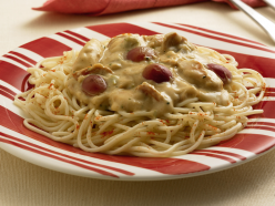 Csípős sajtos-csirkés spagetti