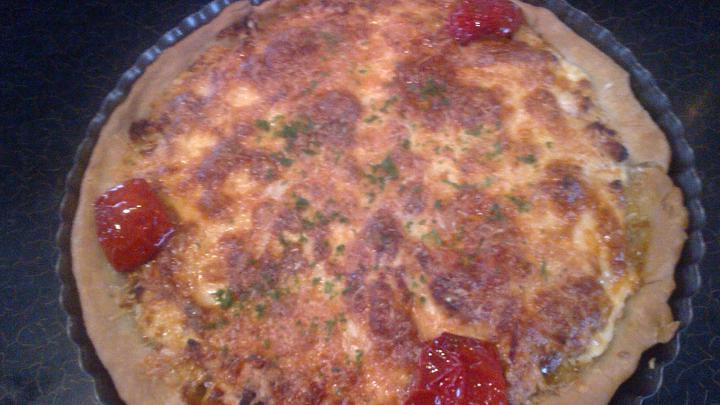 Tejszines csirkés quiche elkészítés 4. lépés képe