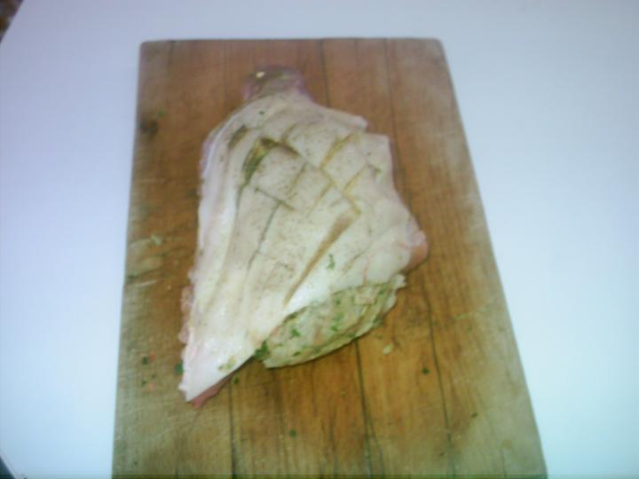 Töltött malacdagadó pirított burgonyával elkészítés 3. lépés képe
