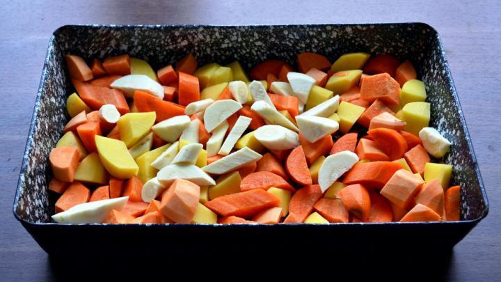Sült csirkecomb vele sült zöldségekkel elkészítés 1. lépés képe
