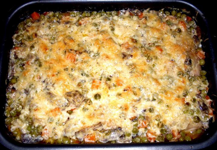 Zöldség alatt sült sajtos csirke elkészítés 5. lépés képe