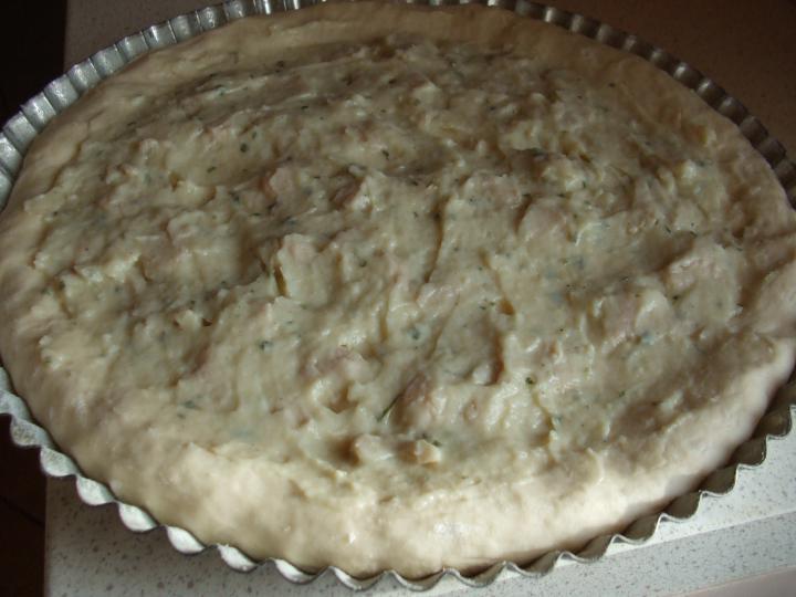 Csirkés pizza carbonara alappal elkészítés 5. lépés képe